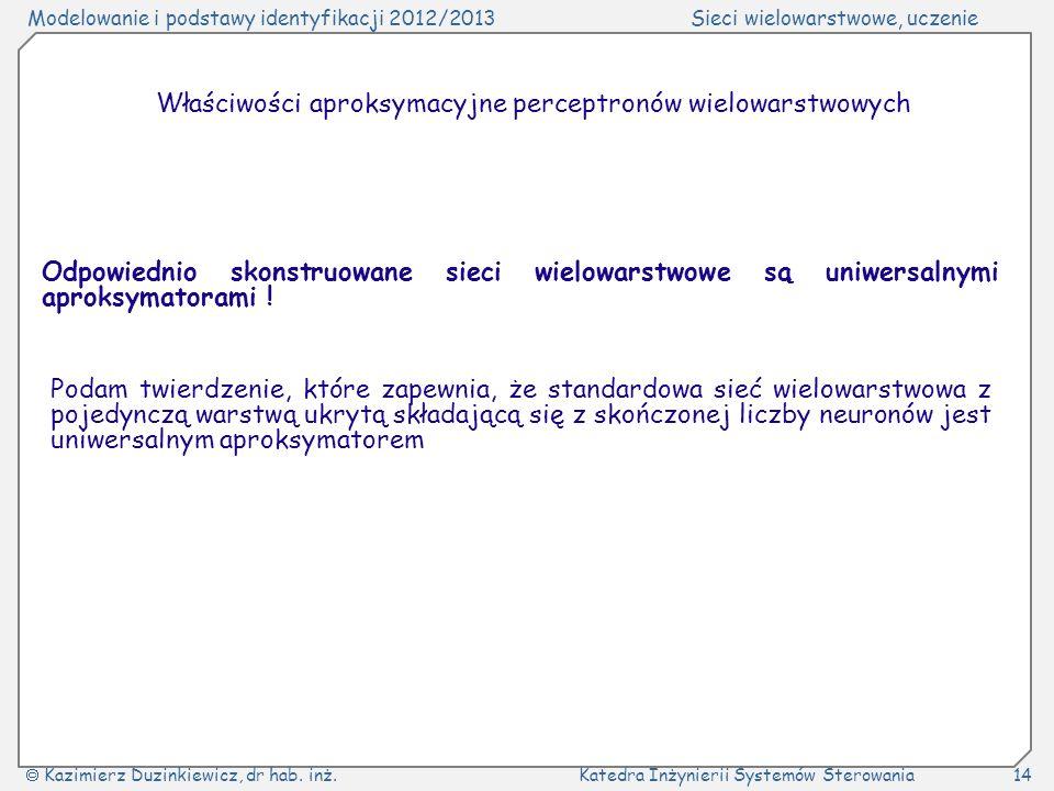 Właściwości aproksymacyjne perceptronów wielowarstwowych