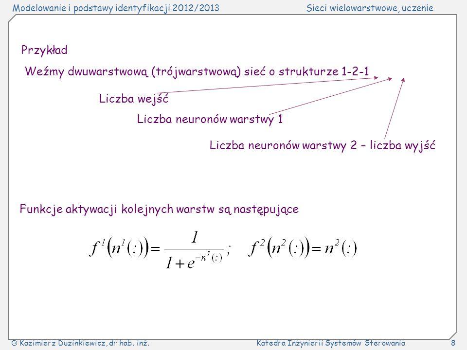 Przykład Weźmy dwuwarstwową (trójwarstwową) sieć o strukturze 1-2-1. Liczba wejść. Liczba neuronów warstwy 1.