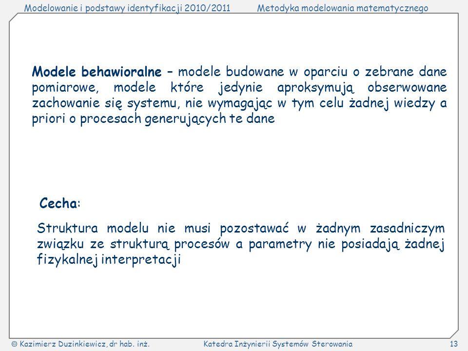 Modele behawioralne – modele budowane w oparciu o zebrane dane pomiarowe, modele które jedynie aproksymują obserwowane zachowanie się systemu, nie wymagając w tym celu żadnej wiedzy a priori o procesach generujących te dane