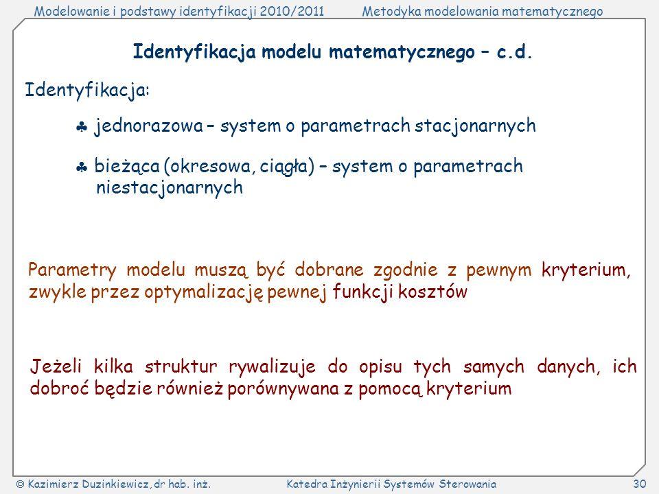 Identyfikacja modelu matematycznego – c.d.