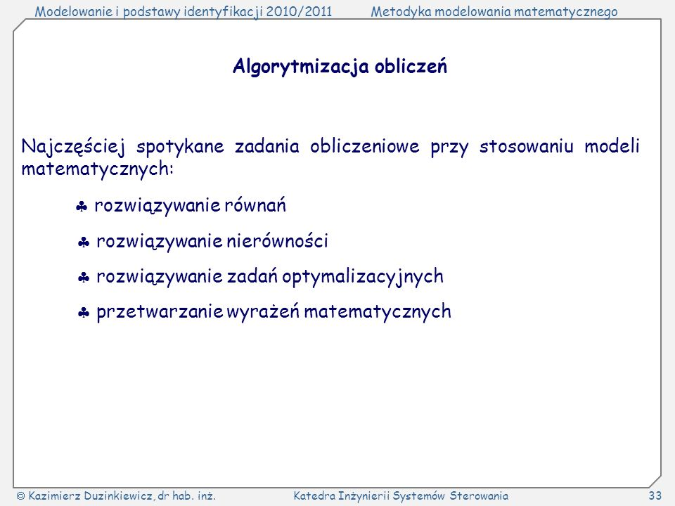 Algorytmizacja obliczeń