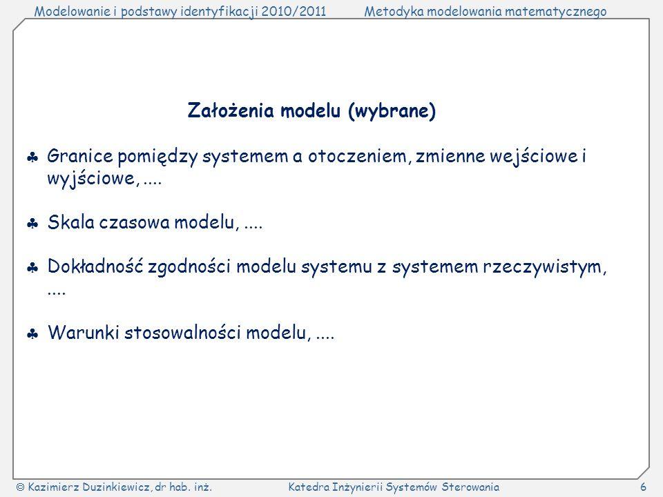 Założenia modelu (wybrane)
