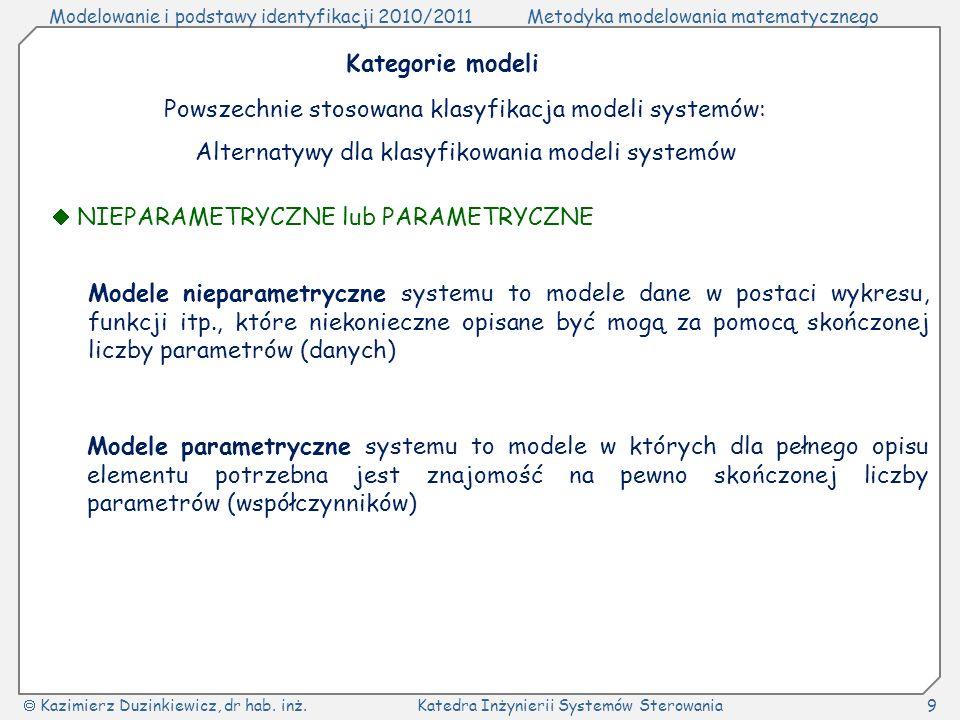 Powszechnie stosowana klasyfikacja modeli systemów: