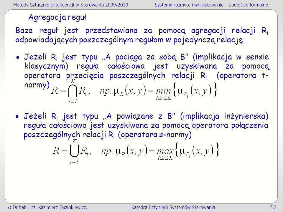 Agregacja reguł Baza reguł jest przedstawiana za pomocą agregacji relacji Ri odpowiadających poszczególnym regułom w pojedynczą relację.