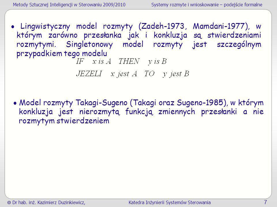  Lingwistyczny model rozmyty (Zadeh-1973, Mamdani-1977), w którym zarówno przesłanka jak i konkluzja są stwierdzeniami rozmytymi. Singletonowy model rozmyty jest szczególnym przypadkiem tego modelu