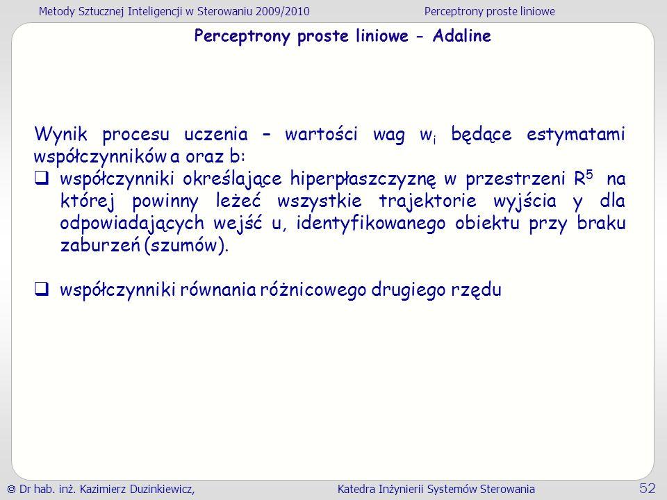 Perceptrony proste liniowe - Adaline