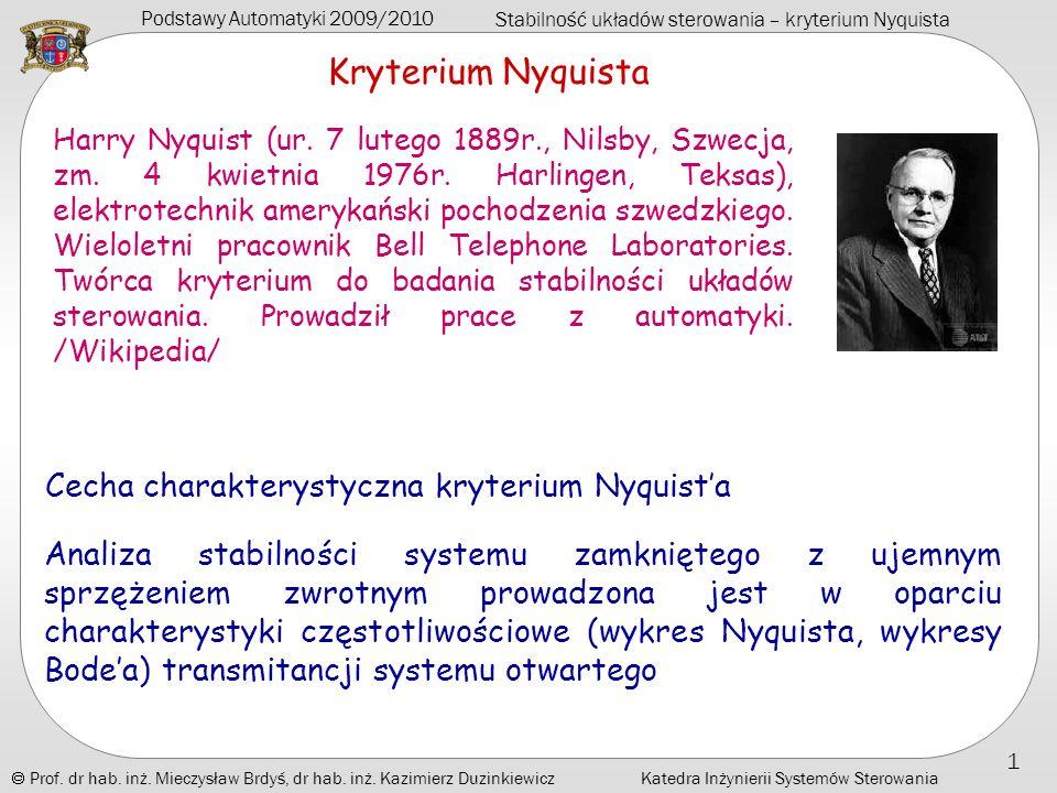 Kryterium Nyquista Cecha charakterystyczna kryterium Nyquist'a