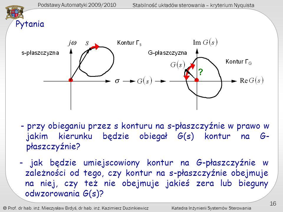 Pytania - przy obieganiu przez s konturu na s-płaszczyźnie w prawo w jakim kierunku będzie obiegał G(s) kontur na G-płaszczyźnie