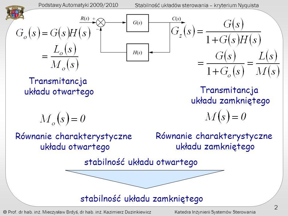 Równanie charakterystyczne układu zamkniętego