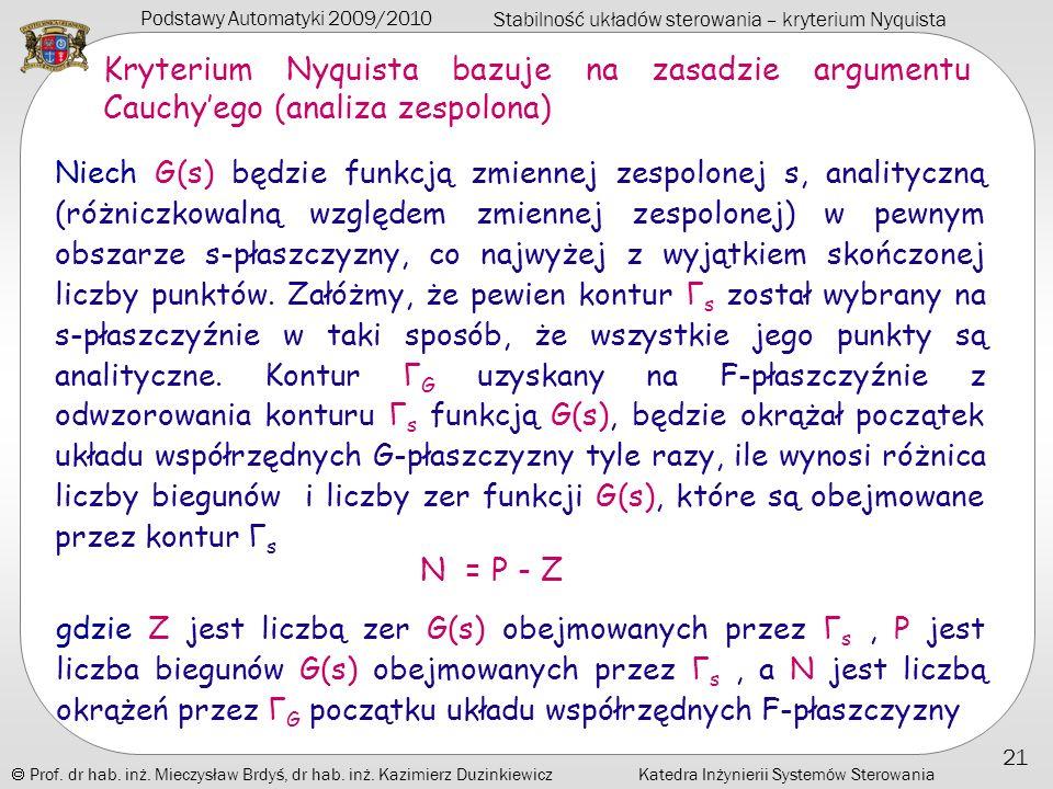 Kryterium Nyquista bazuje na zasadzie argumentu Cauchy'ego (analiza zespolona)