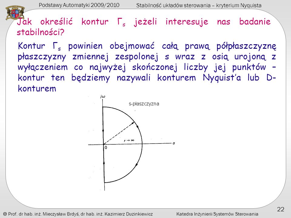 Jak określić kontur Γs jeżeli interesuje nas badanie stabilności