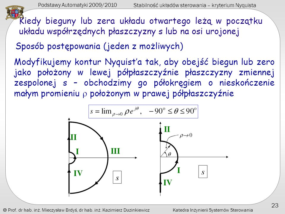 Kiedy bieguny lub zera układu otwartego leżą w początku układu współrzędnych płaszczyzny s lub na osi urojonej