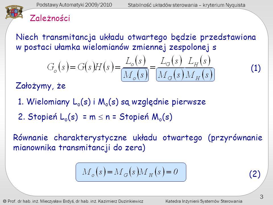 Zależności 1. Wielomiany Lo(s) i Mo(s) są względnie pierwsze.