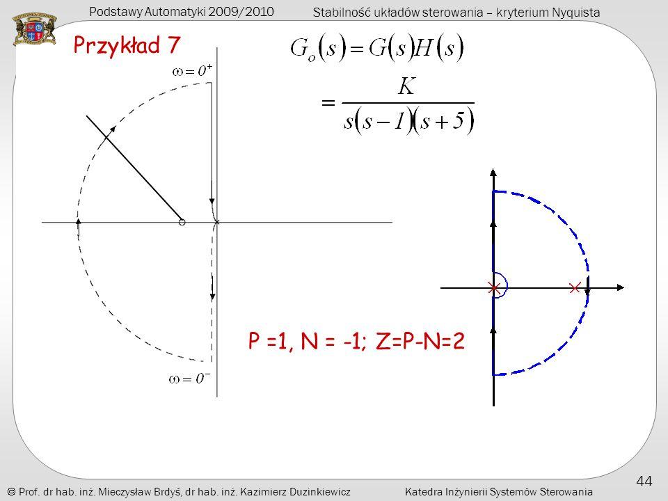 Przykład 7 P =1, N = -1; Z=P-N=2