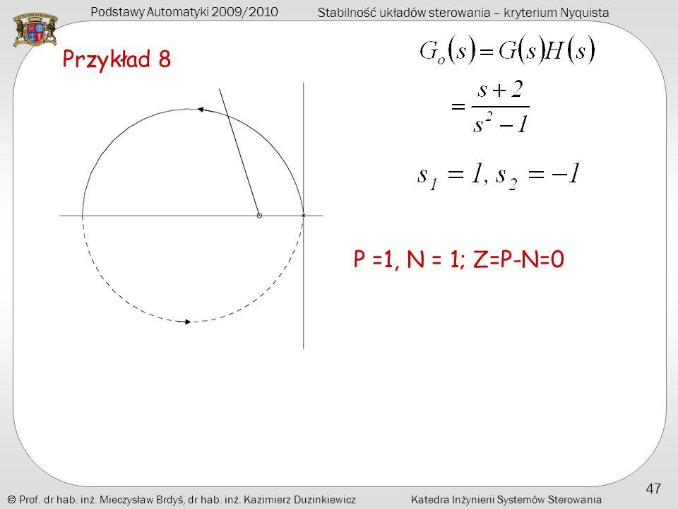 Przykład 8 P =1, N = 1; Z=P-N=0