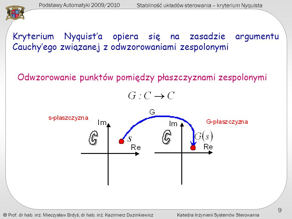Kryterium Nyquist'a opiera się na zasadzie argumentu Cauchy'ego związanej z odwzorowaniami zespolonymi
