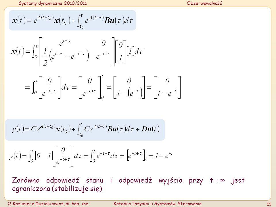 Zarówno odpowiedź stanu i odpowiedź wyjścia przy t jest ograniczona (stabilizuje się)