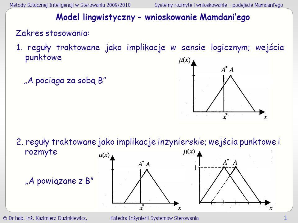 Model lingwistyczny – wnioskowanie Mamdani'ego
