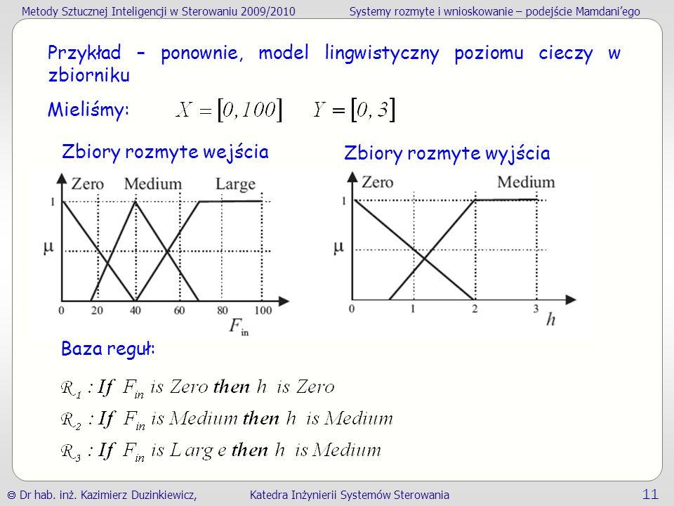 Przykład – ponownie, model lingwistyczny poziomu cieczy w zbiorniku