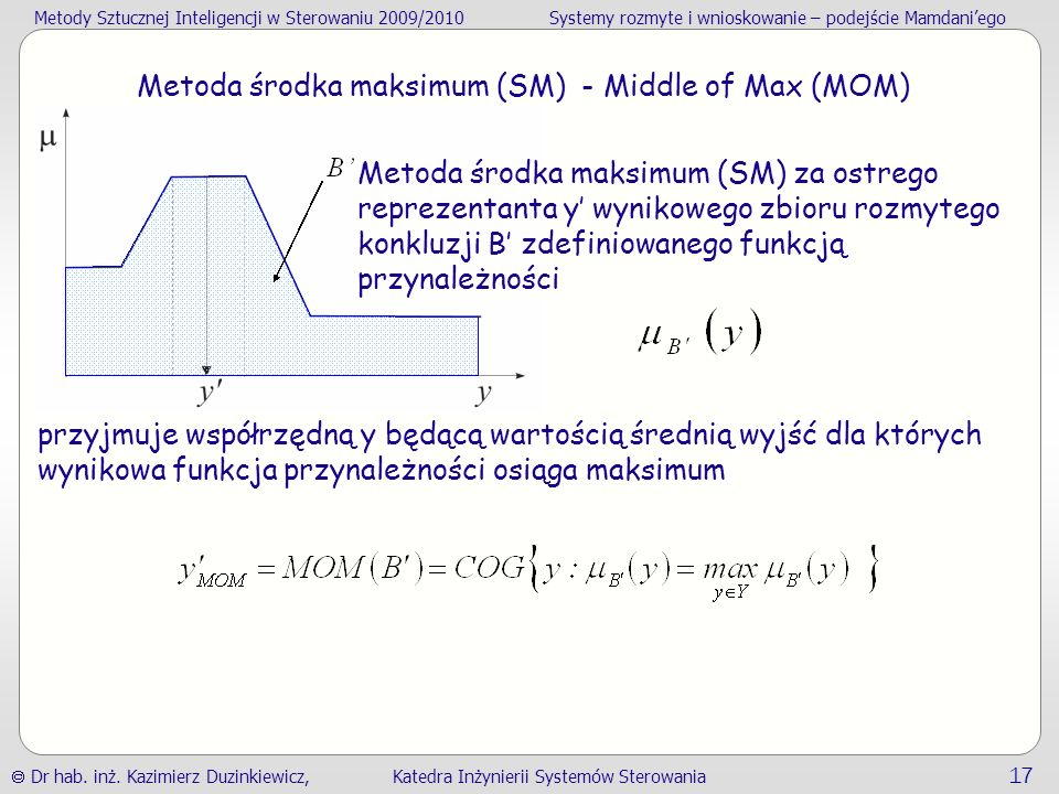Metoda środka maksimum (SM) - Middle of Max (MOM)