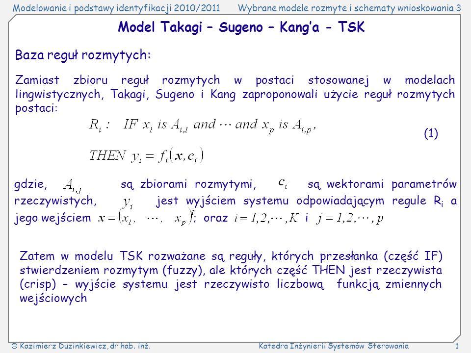 Model Takagi – Sugeno – Kang'a - TSK