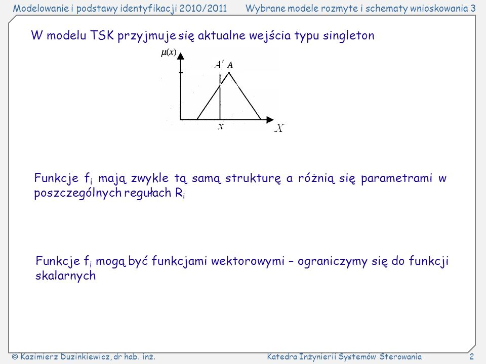 W modelu TSK przyjmuje się aktualne wejścia typu singleton
