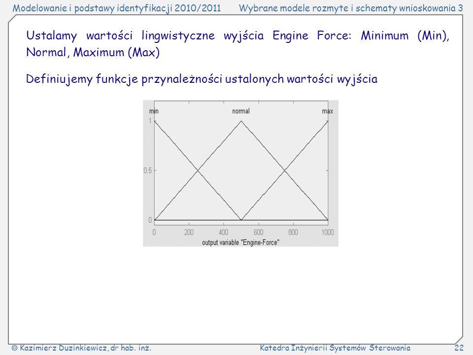 Ustalamy wartości lingwistyczne wyjścia Engine Force: Minimum (Min), Normal, Maximum (Max)