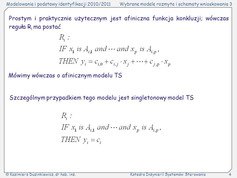 Prostym i praktycznie użytecznym jest afiniczna funkcja konkluzji; wówczas reguła Ri ma postać