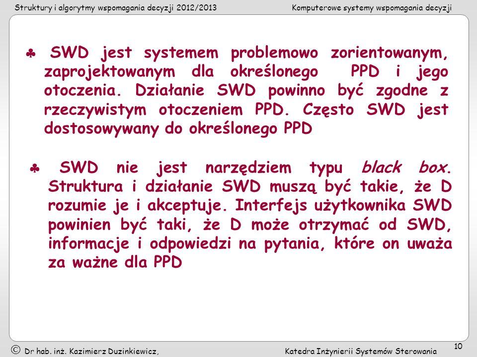  SWD jest systemem problemowo zorientowanym, zaprojektowanym dla określonego PPD i jego otoczenia. Działanie SWD powinno być zgodne z rzeczywistym otoczeniem PPD. Często SWD jest dostosowywany do określonego PPD