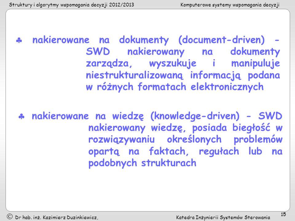  nakierowane na dokumenty (document-driven) - SWD nakierowany na dokumenty zarządza, wyszukuje i manipuluje niestrukturalizowaną informacją podana w różnych formatach elektronicznych