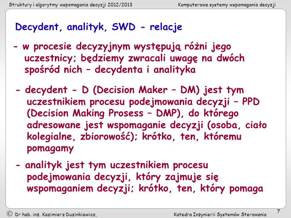 Decydent, analityk, SWD - relacje