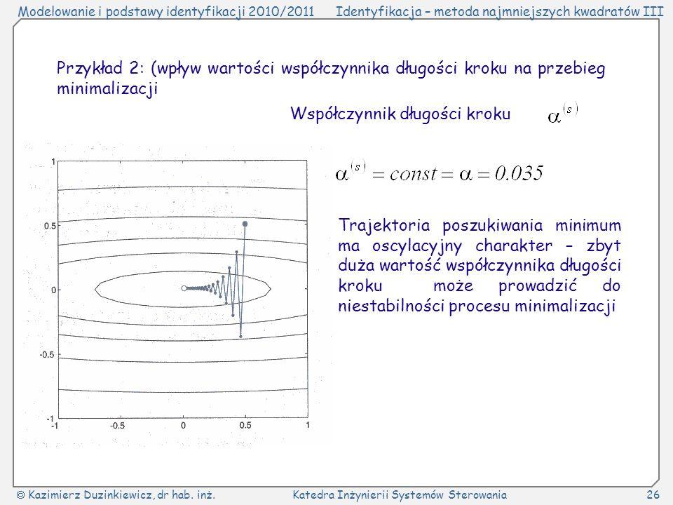 Przykład 2: (wpływ wartości współczynnika długości kroku na przebieg minimalizacji