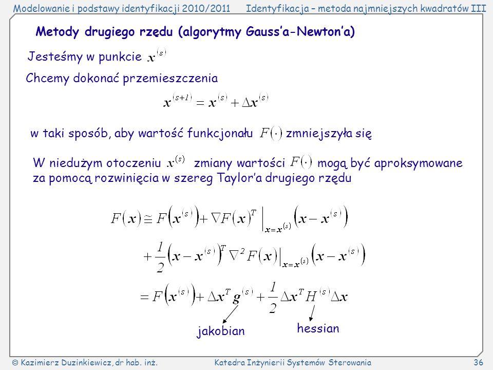 Metody drugiego rzędu (algorytmy Gauss'a-Newton'a)