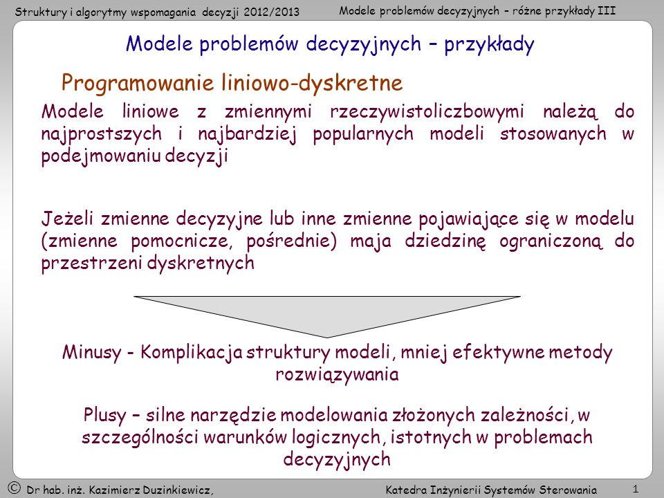 Modele problemów decyzyjnych – przykłady