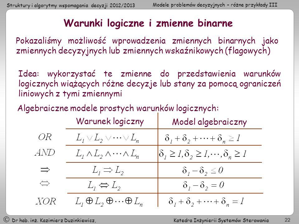 Warunki logiczne i zmienne binarne