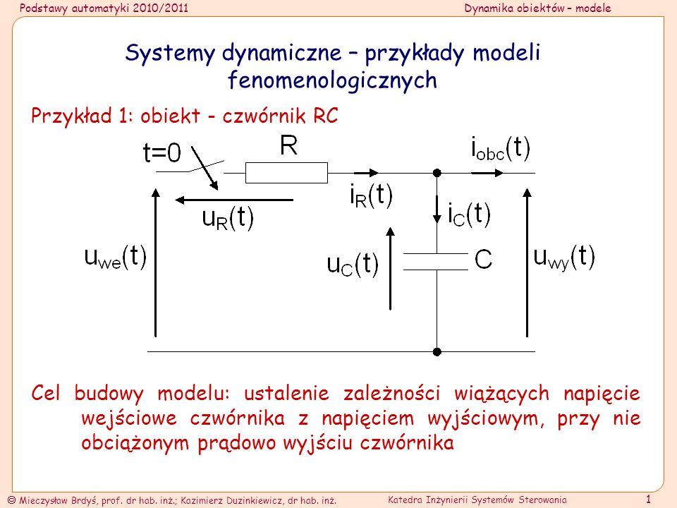 Systemy dynamiczne – przykłady modeli fenomenologicznych