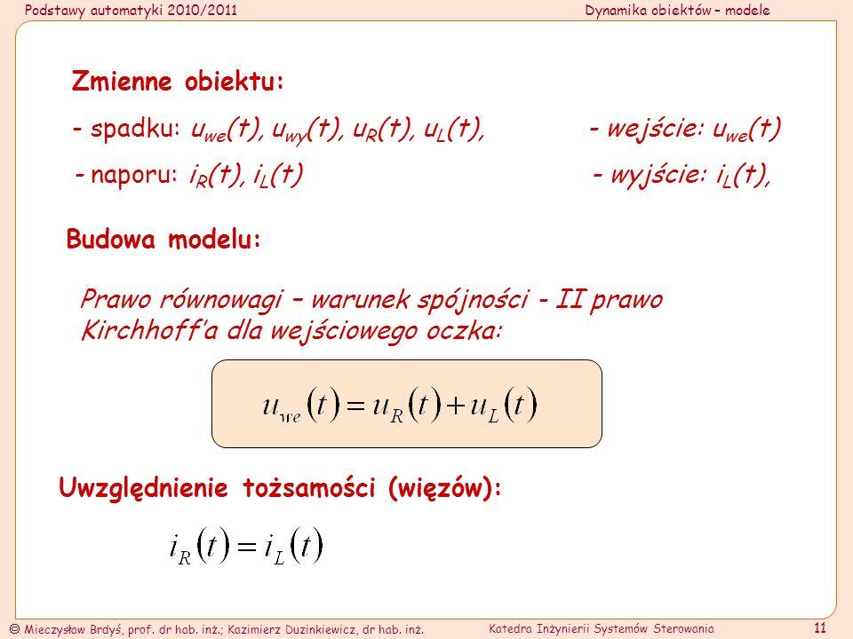 Zmienne obiektu: - spadku: uwe(t), uwy(t), uR(t), uL(t), - wejście: uwe(t)