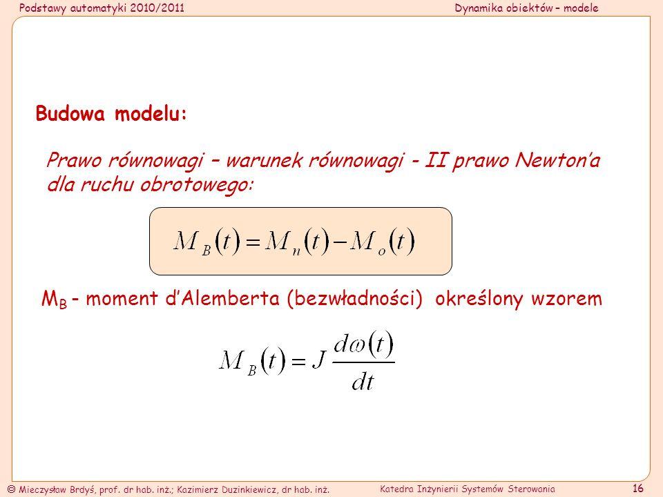 Budowa modelu:Prawo równowagi – warunek równowagi - II prawo Newton'a dla ruchu obrotowego: MB - moment d'Alemberta (bezwładności) określony wzorem.