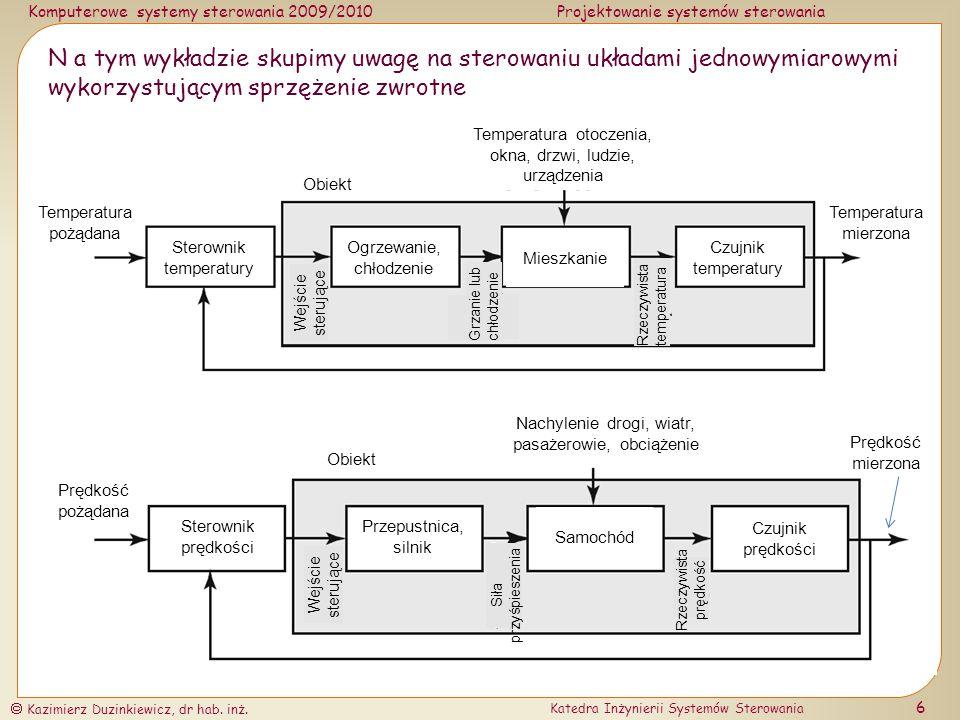 N a tym wykładzie skupimy uwagę na sterowaniu układami jednowymiarowymi wykorzystującym sprzężenie zwrotne