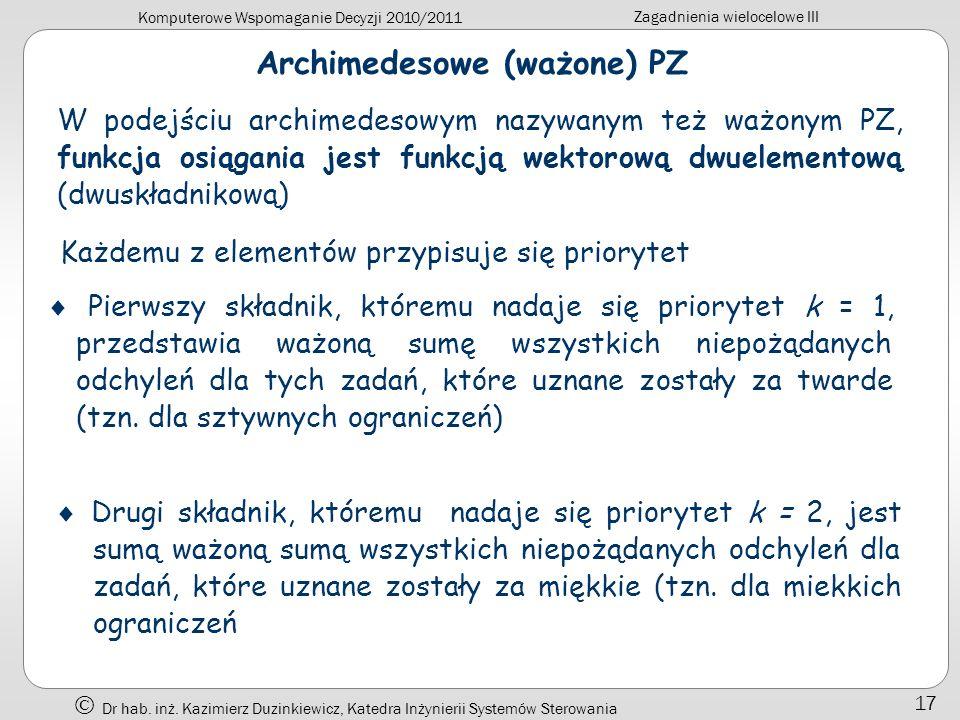 Archimedesowe (ważone) PZ