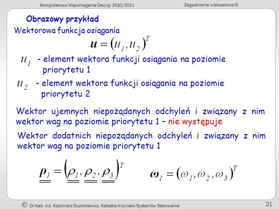- element wektora funkcji osiągania na poziomie priorytetu 1