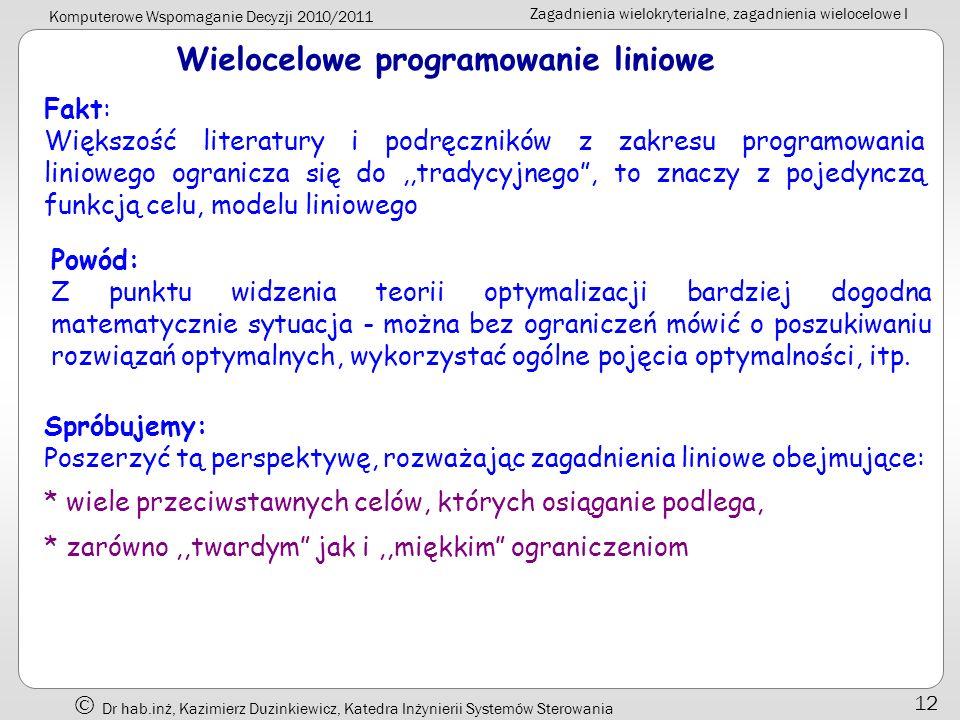 Wielocelowe programowanie liniowe