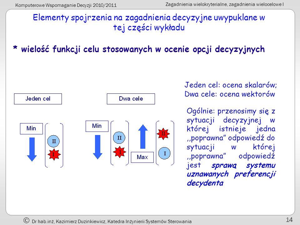 * wielość funkcji celu stosowanych w ocenie opcji decyzyjnych