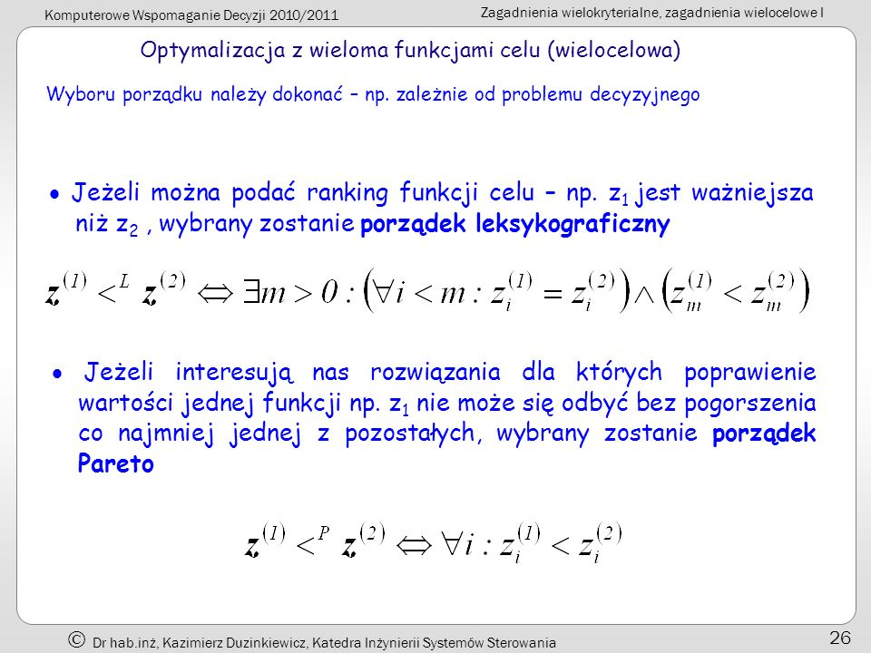 Optymalizacja z wieloma funkcjami celu (wielocelowa)