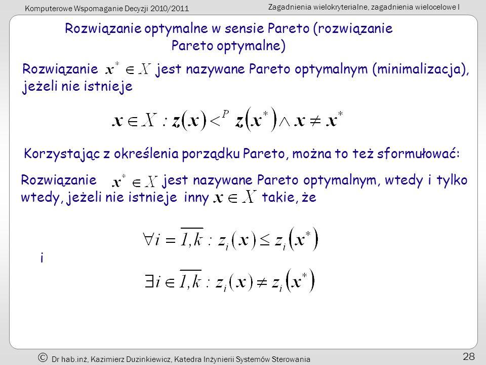 Rozwiązanie optymalne w sensie Pareto (rozwiązanie Pareto optymalne)