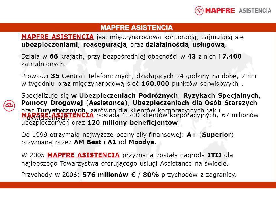 MAPFRE ASISTENCIA MAPFRE ASISTENCIA jest międzynarodowa korporacją, zajmującą się ubezpieczeniami, reaseguracją oraz działalnością usługową.