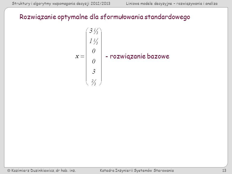 Rozwiązanie optymalne dla sformułowania standardowego