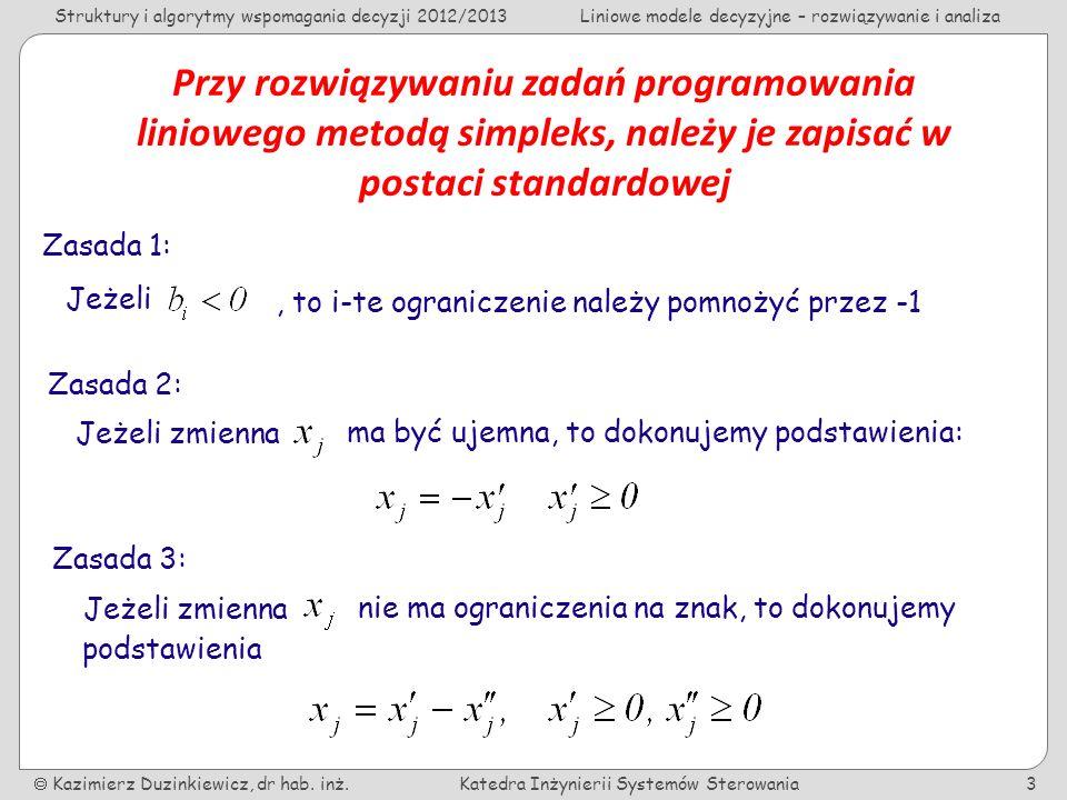 Przy rozwiązywaniu zadań programowania liniowego metodą simpleks, należy je zapisać w postaci standardowej