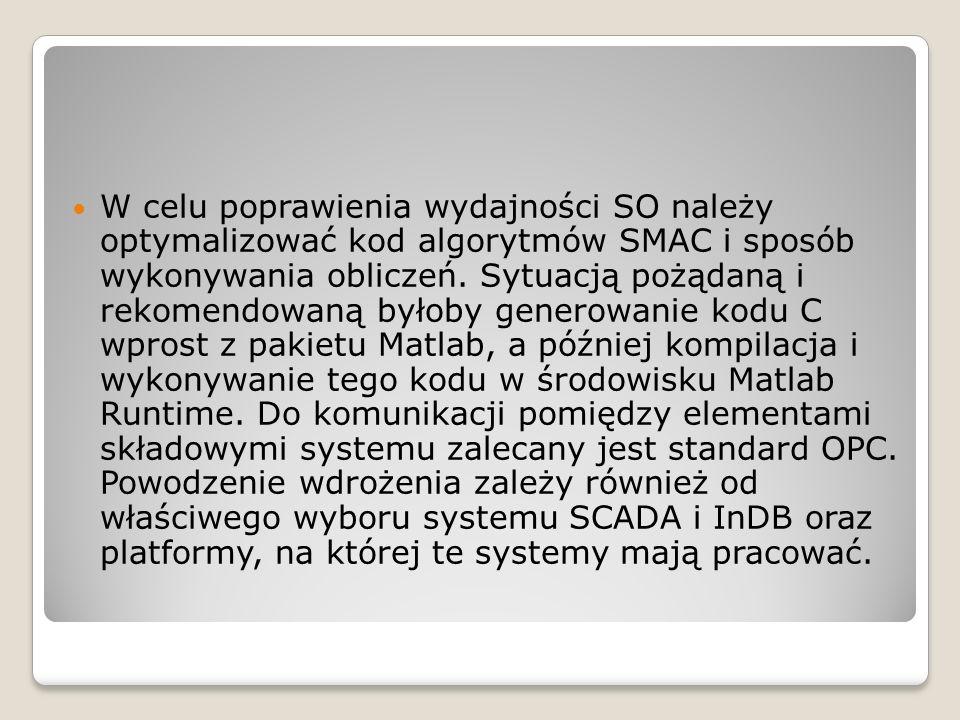 W celu poprawienia wydajności SO należy optymalizować kod algorytmów SMAC i sposób wykonywania obliczeń.