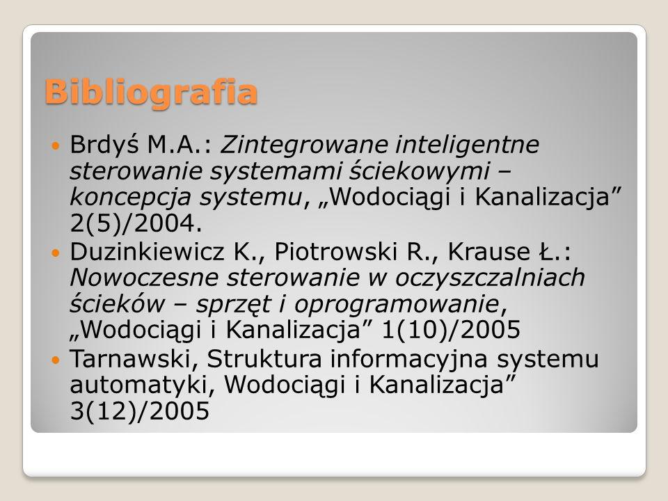 """Bibliografia Brdyś M.A.: Zintegrowane inteligentne sterowanie systemami ściekowymi – koncepcja systemu, """"Wodociągi i Kanalizacja 2(5)/2004."""